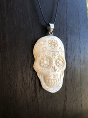 Sugar Skull Necklace - Bone