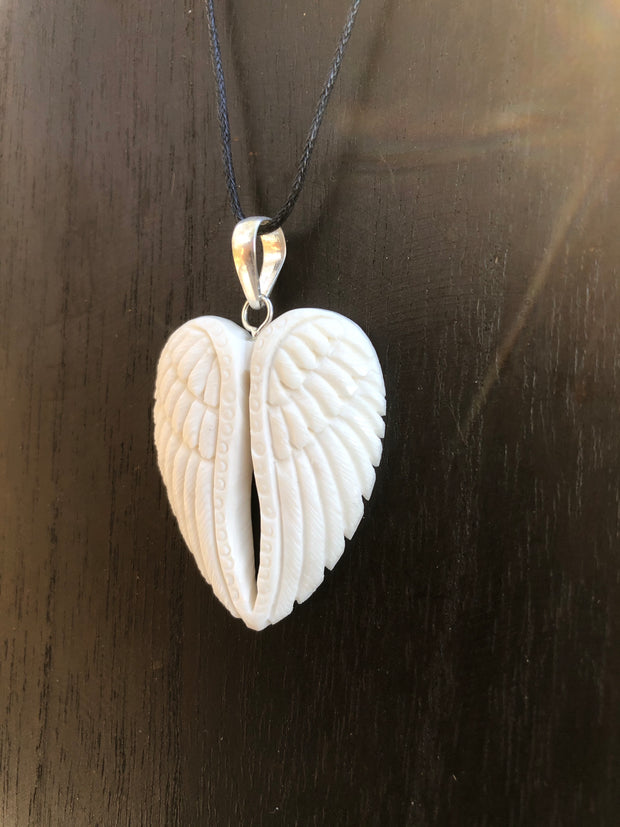 Angel Wings Necklace - Bone