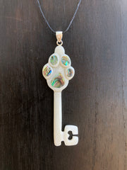 Puppy Love Necklace - Bone w/ Abalone