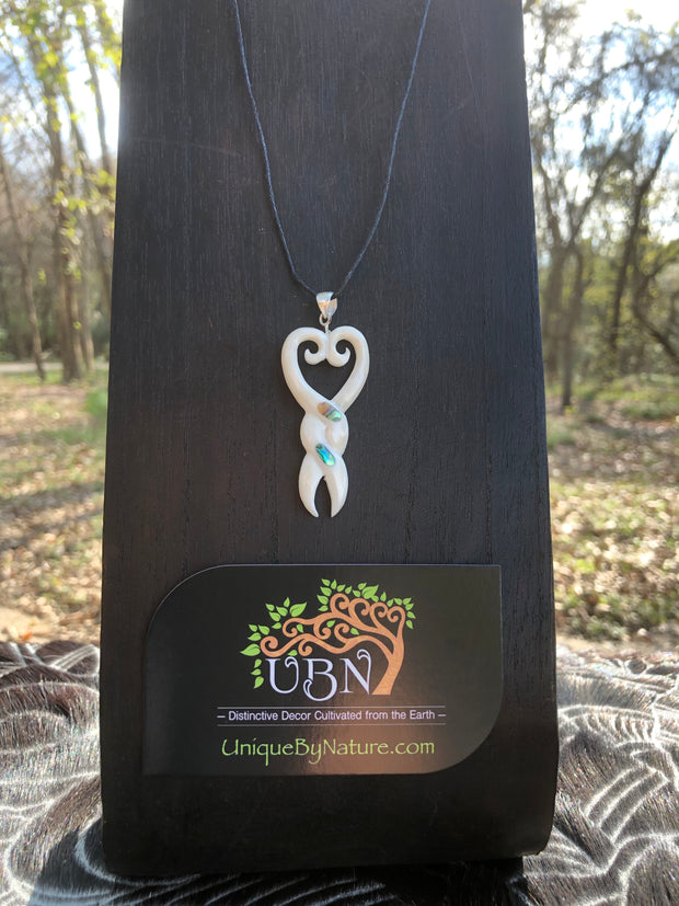 Intertwined Love Necklace - Bone w/ Abalone