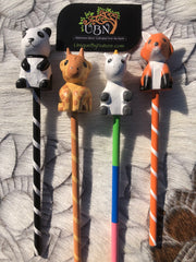 4 pc. Carved Animal Pencil Set