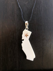 California State Necklace - Bone w/ Abalone