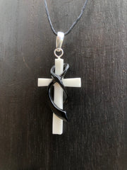 Cancer Awareness Cross Necklace - Bone & Horn