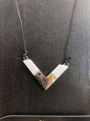 Power Necklace - Bone w/ Abalone