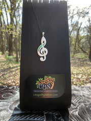 Treble Clef Note Necklace - Bone w/ Abalone