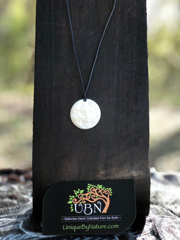 Crescent Moon & Sun Necklace - Bone