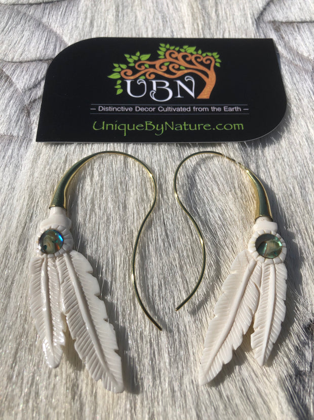 Double Feather Earrings - Bone, Abalone & Brass