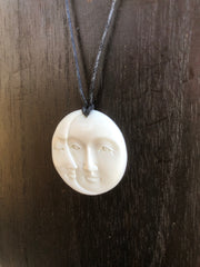 Crescent & Full Moon Necklace - Bone