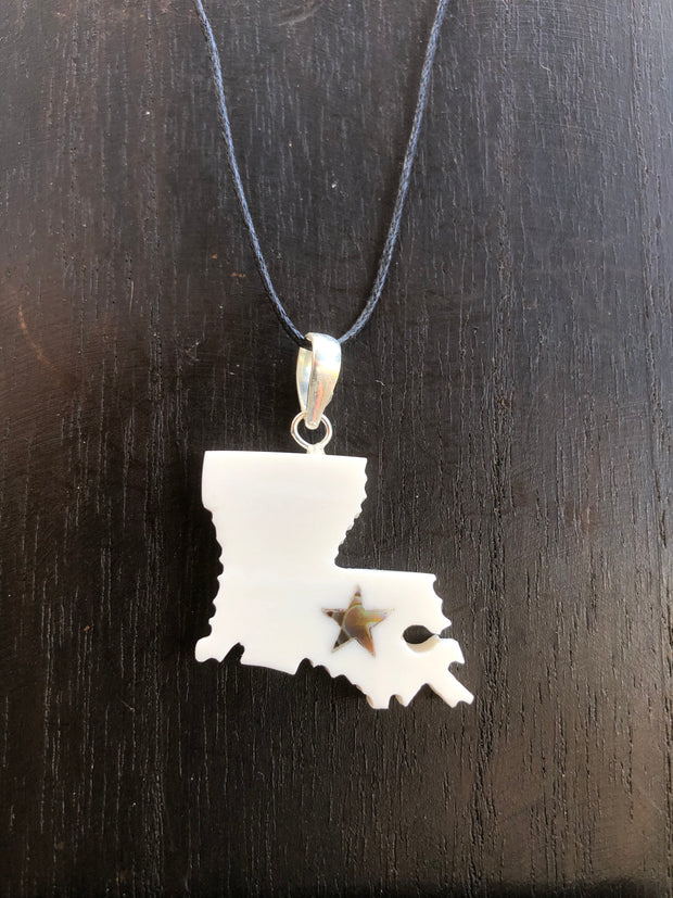 Louisiana State Necklace - Bone w/ Abalone