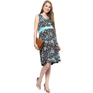Maternity Dress Short Blue Print
