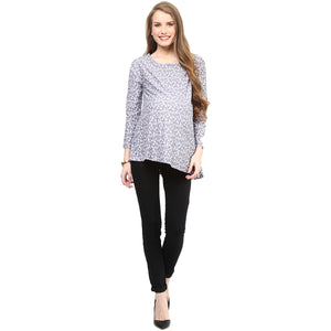 Maternity Top Stylish Printed Grey