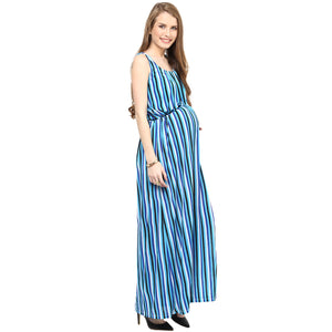 Maternity Maxi Dress Blue striped
