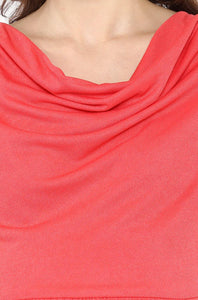 Maternity Dress Coral with Cowl Neck