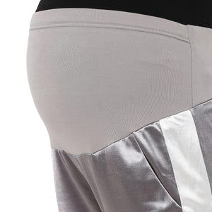 Maternity Jogger Pants Silver Satin