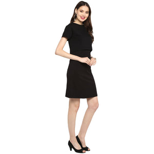 Maternity cum Nursing Dress Solid Black