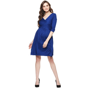 MamaCouture Nursing Royal Blue Color Polyester Partywear Dress for Women-1
