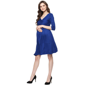 MamaCouture Nursing Royal Blue Color Polyester Partywear Dress for Women-2