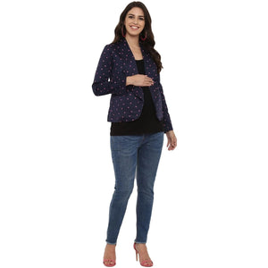 mamacouture maternity wear Day Jacket Navy Blue with Polka-01