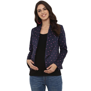 mamacouture maternity wear Day Jacket Navy Blue with Polka-02