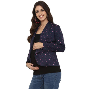 mamacouture maternity wear Day Jacket Navy Blue with Polka-03
