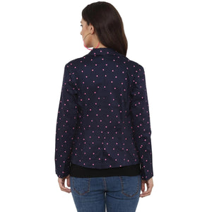 Day Jacket Navy Blue with Polka