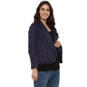 mamacouture maternity wear Day Jacket Navy Blue with Polka-5