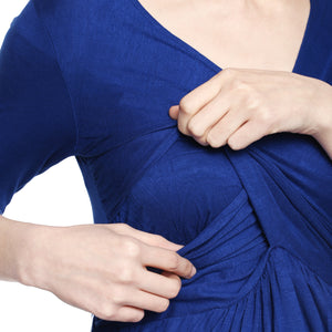 Maternity cum Nursing Dress Blue Office Wear Formal