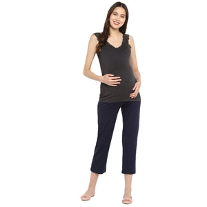 Maternity Track Pants Navy with Foldable Fab-pouch