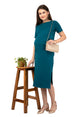 Mamacouture Maternity cum Nursing Midi Dress Dark Green-4