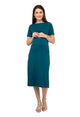 Mamacouture Maternity cum Nursing Midi Dress Dark Green-1