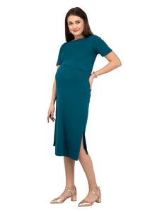Mamacouture Maternity cum Nursing Midi Dress Dark Green-5