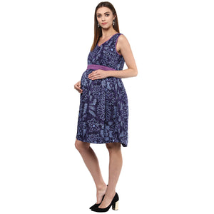 Maternity Dress Short Blue Tie and Dye
