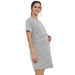 Maternity cum Nursing Dress Striped Grey