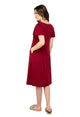 Mamacouture Maternity cum Nursing Night Dress Maroon-4
