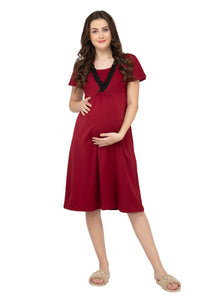 Mamacouture Maternity cum Nursing Night Dress Maroon-7