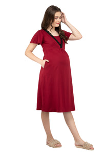 Mamacouture Maternity cum Nursing Night Dress Maroon-1