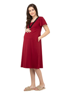 Mamacouture Maternity cum Nursing Night Dress Maroon-2