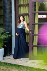 black and silver maternity maxi dress_1