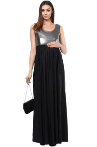 black and silver maternity maxi dress_3