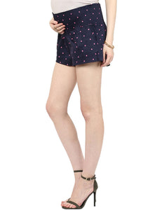 black maternity shorts with pink polka_4