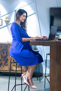 blue office wear formal maternity dress_1