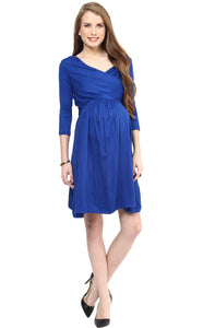 blue office wear formal maternity dress_2