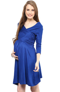 blue office wear formal maternity dress_4