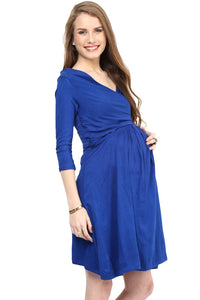 blue office wear formal maternity dress_5
