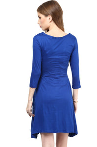 blue office wear formal maternity dress_6