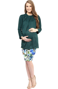 blue print maternity pencil skirt_1