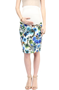 blue print maternity pencil skirt_2