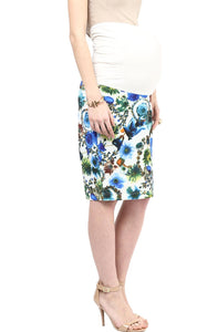 blue print maternity pencil skirt_5