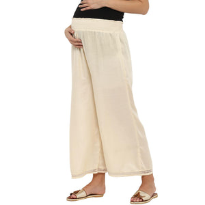 comfortable maternity palazzo pants in cream_2