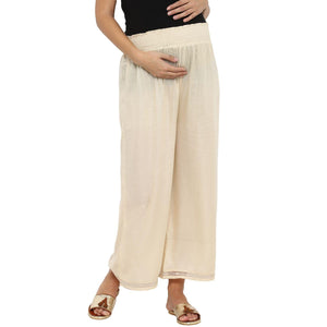comfortable maternity palazzo pants in cream_6